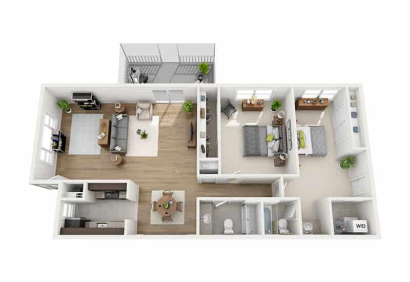 Carriage Pines 2 bedrooms style c floor plan