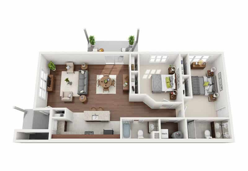 Carriage Pines 2 bedrooms style d floor plan