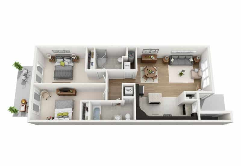 Carriage Pines 2 bedrooms style e floor plan