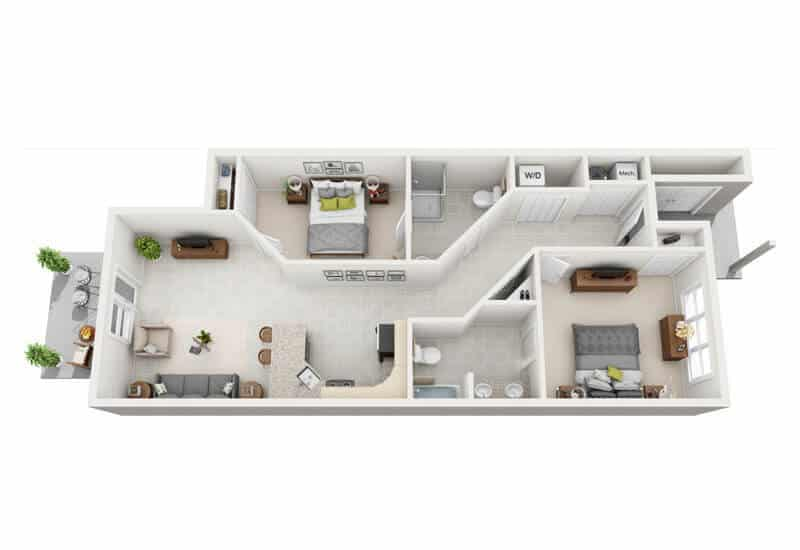 Carriage Pines 2 bedrooms style f floor plan