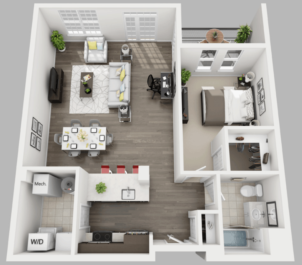Empire Run 1 bedroom style a floor plan
