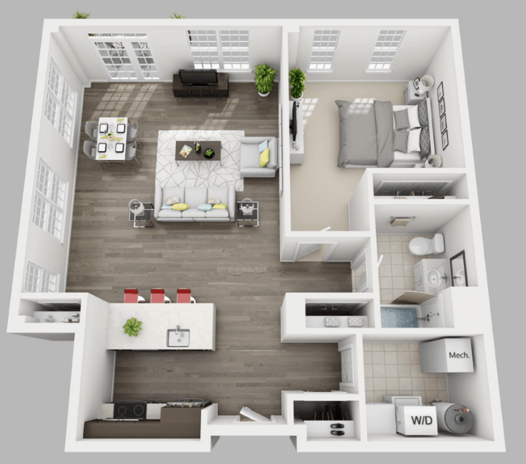 Empire Run 1 bedroom style b floor plan