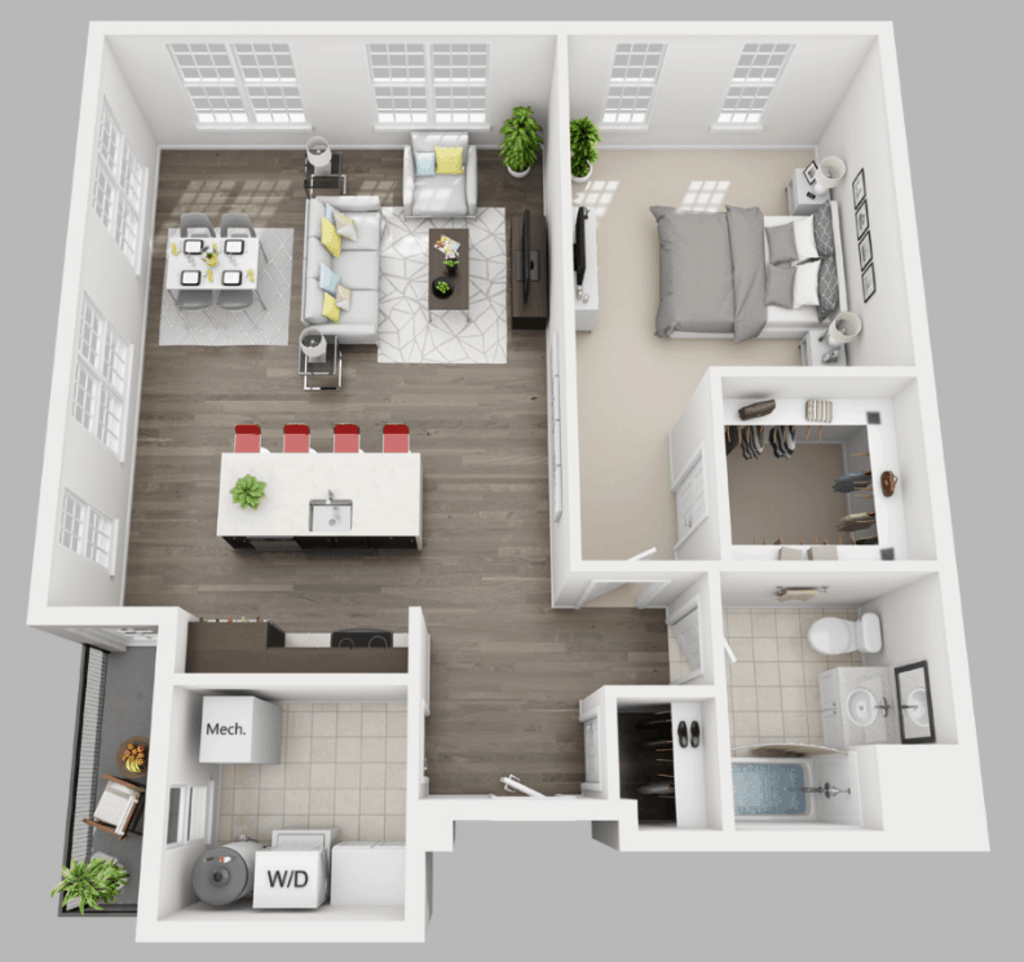 Empire Run 1 bedroom style d floor plan