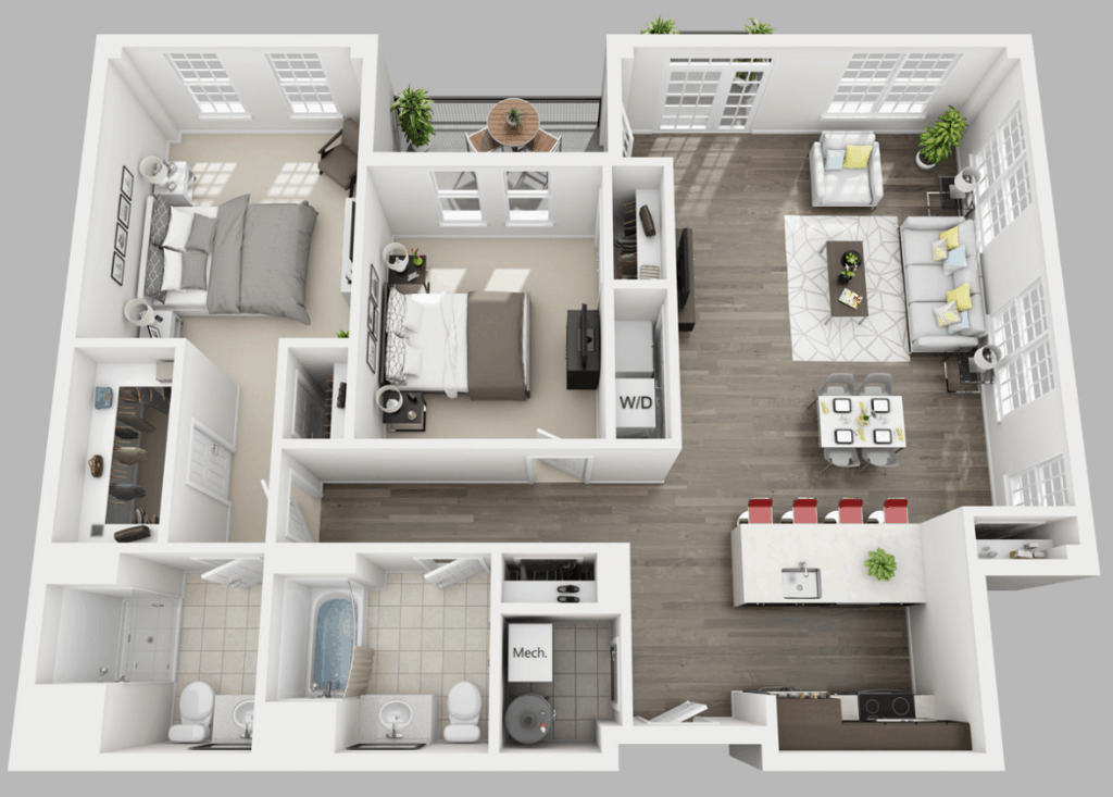 Empire Run 2 bedrooms style a floor plan