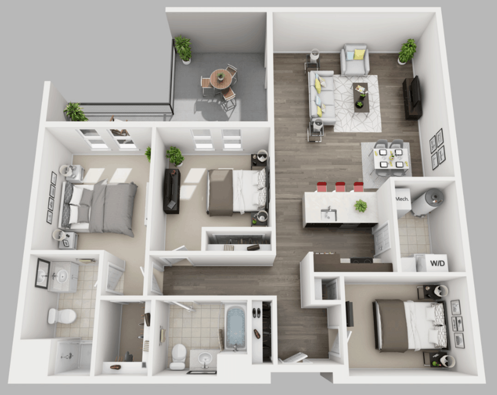 Empire Run 2 bedrooms style d floor plan