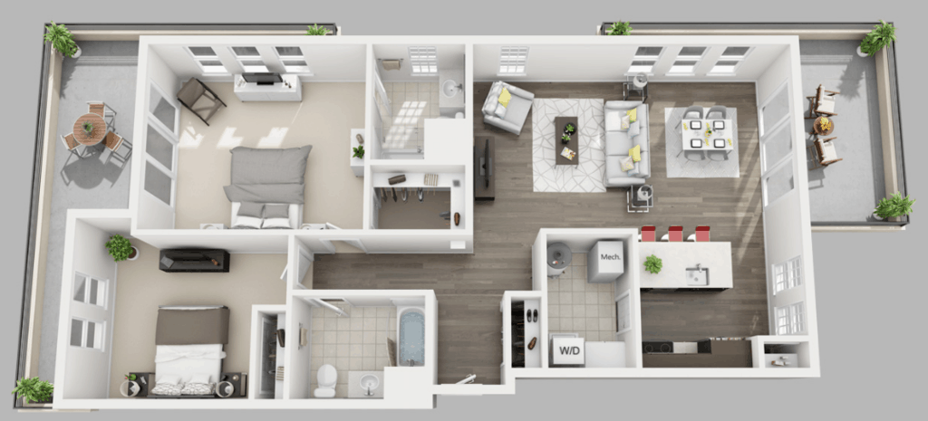 Empire Run 2 Bedrooms Style Apartment H Floor Plan
