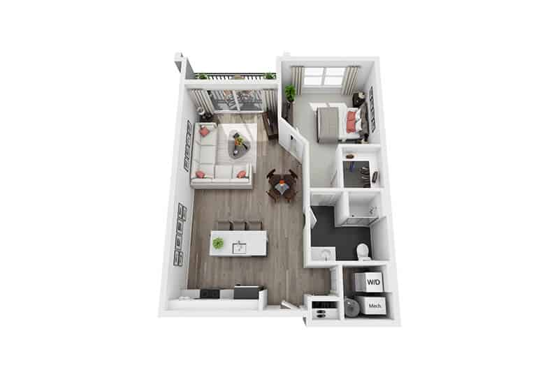 Excelsior Park 1 bedroom style a floor plan