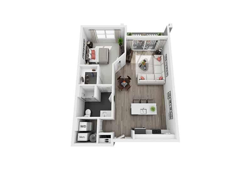 Excelsior Park 1 bedroom style b floor plan