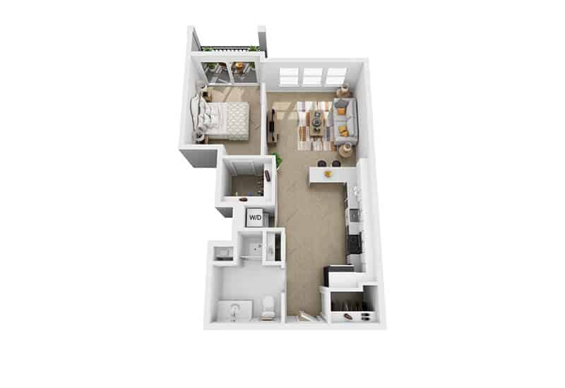 Excelsior Park 1 bedroom style d floor plan