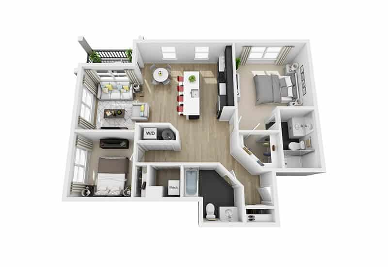 Excelsior Park 2 bedrooms style a floor plan