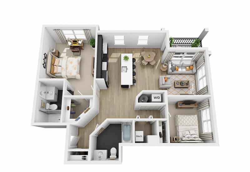 Excelsior Park 2 bedrooms style a1 floor plan