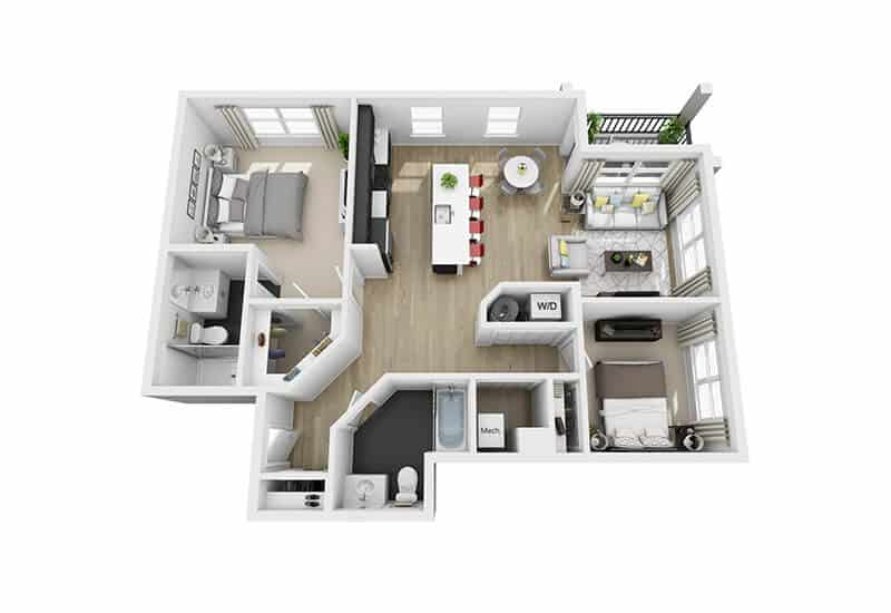 Excelsior Park 2 bedrooms style b floor plan