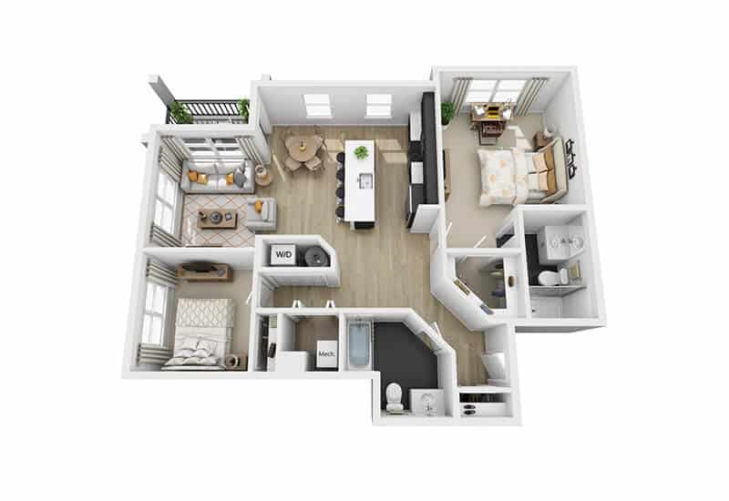 Excelsior Park 2 bedrooms style c floor plan