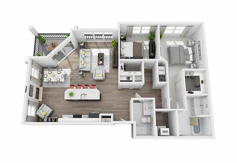 Excelsior Park 2 bedrooms style e floor plan