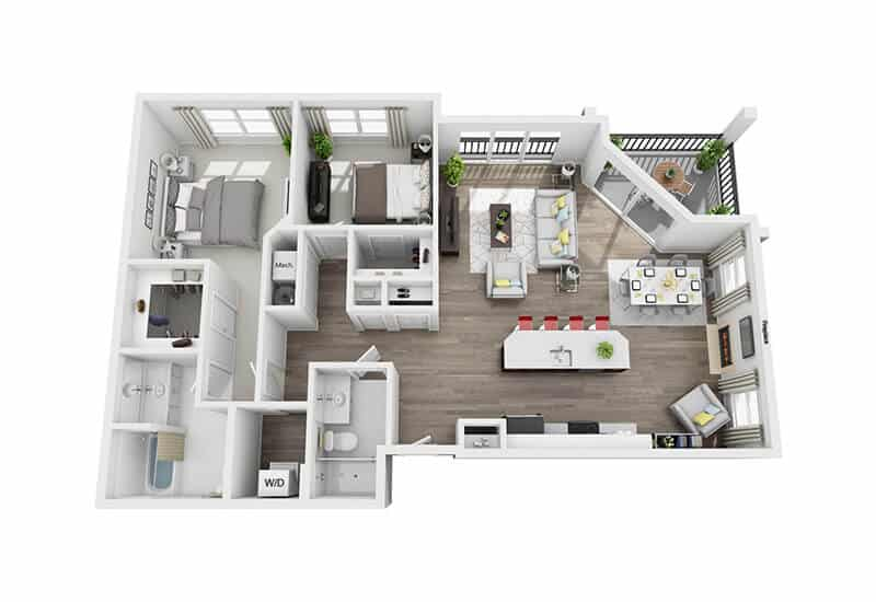 Excelsior Park 2 bedrooms style f floor plan