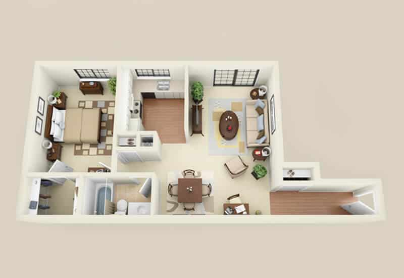 Heritage Village 1 bedroom style b floor plan