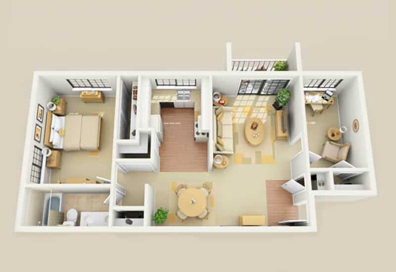 Heritage Village 1 bedroom style c floor plan