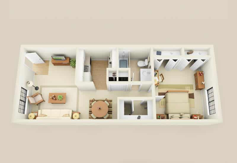 Heritage Village 1 bedroom style d floor plan