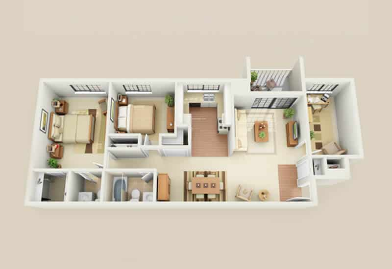 Heritage Village 2 bedrooms style b floor plan