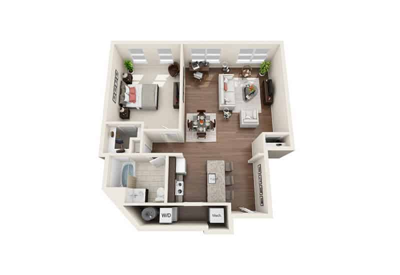 Iroquois Village 1 bedroom style a floor plan