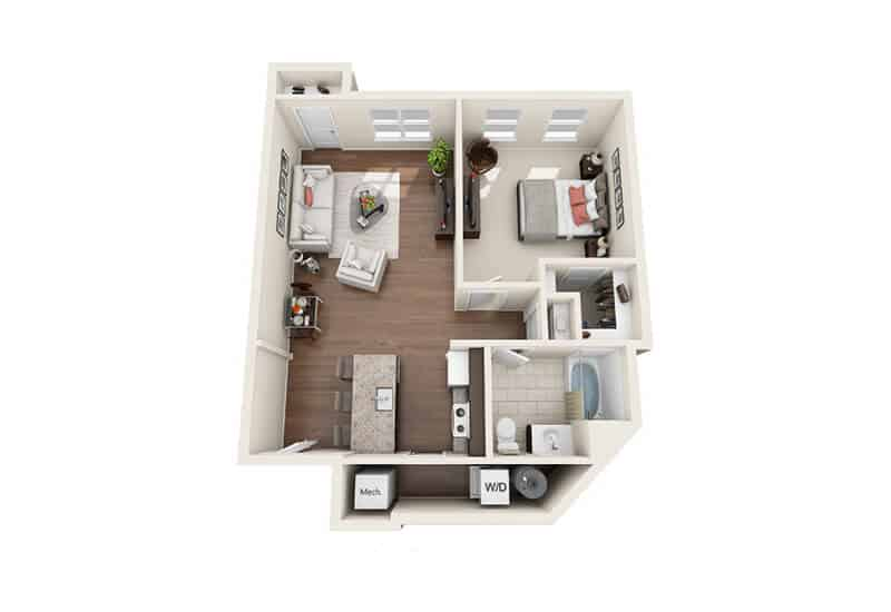Iroquois Village 1 bedroom style b floor plan
