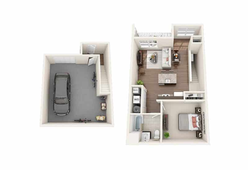 Iroquois Village 1 bedroom style d floor plan