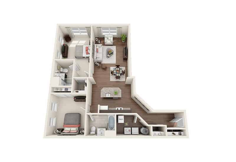 Iroquois Village 2 bedrooms style a floor plan