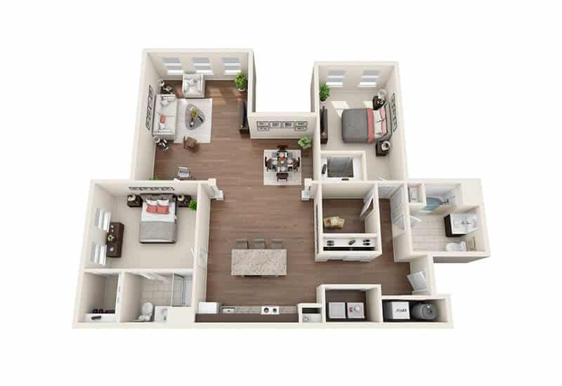 Iroquois Village 2 bedrooms style b floor plan
