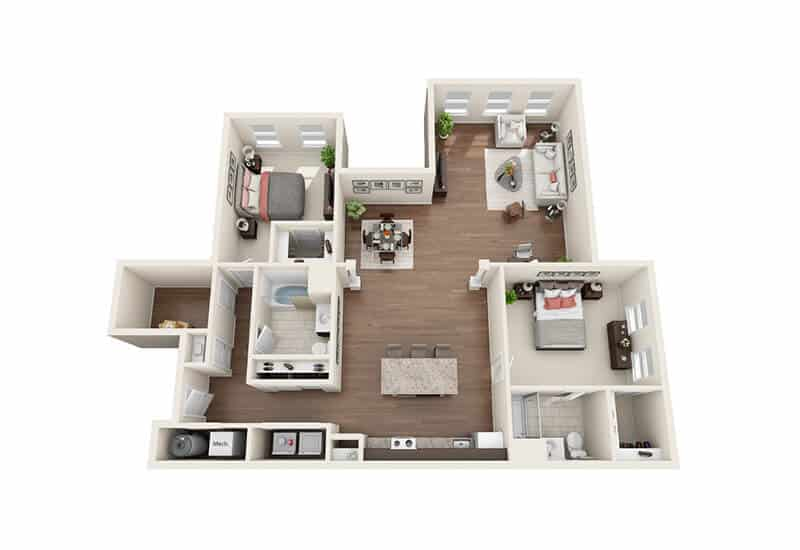Iroquois Village 2 bedrooms style c floor plan