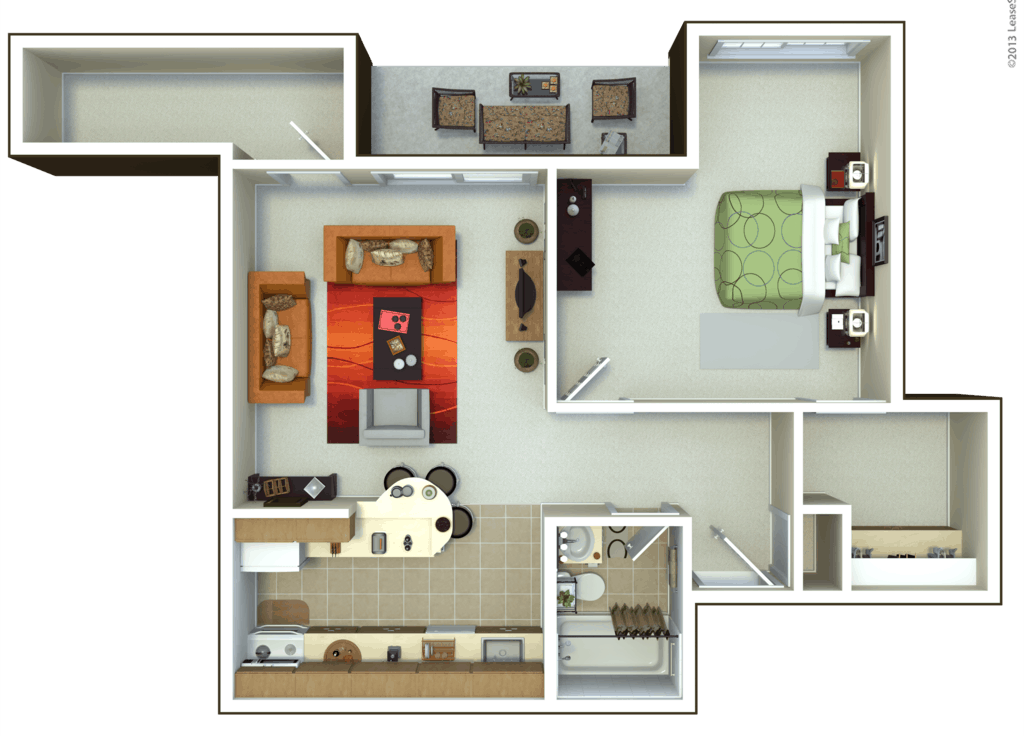 Oxford Heights 1 bedroom style a floor plan