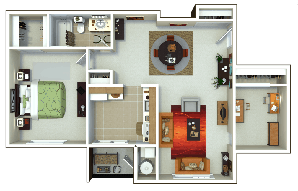 Oxford Heights 1 bedroom style b floor plan