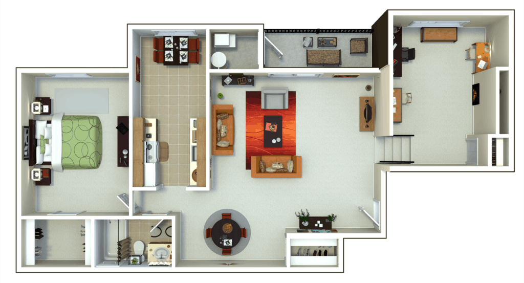 Oxford Heights 1 bedroom style c floor plan