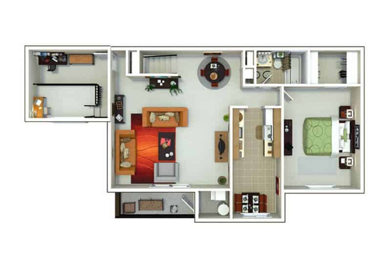 Oxford Heights 1 bedroom style d floor plan