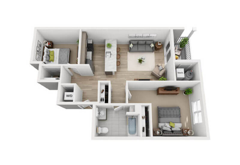 Oxford Heights 2 bedrooms style a floor plan