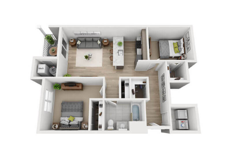 Oxford Heights 2 bedrooms style b floor plan