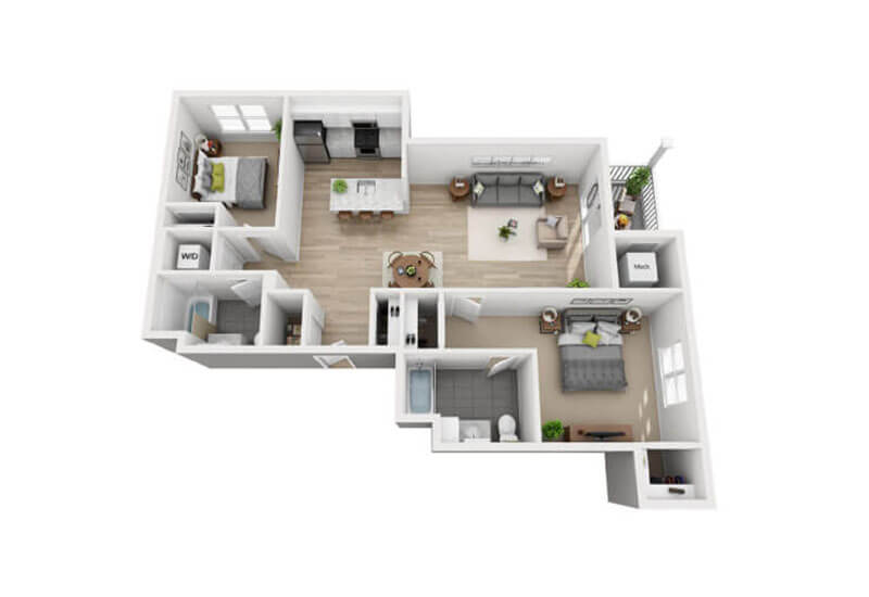 Oxford Heights 2 bedrooms style c floor plan