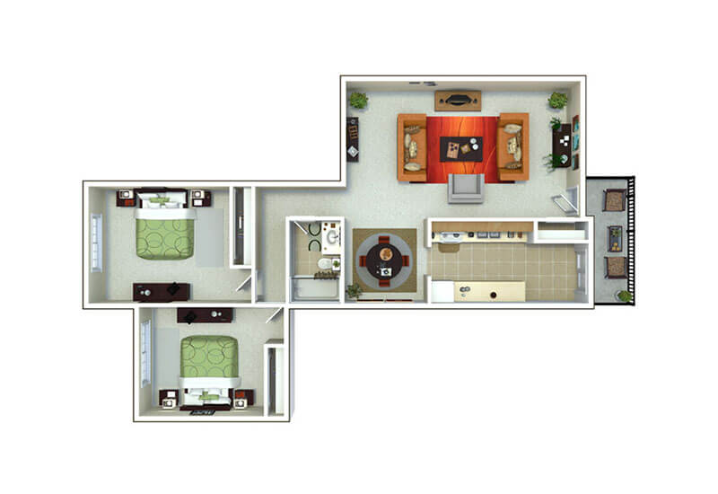 Oxford Heights 2 bedrooms style e floor plan