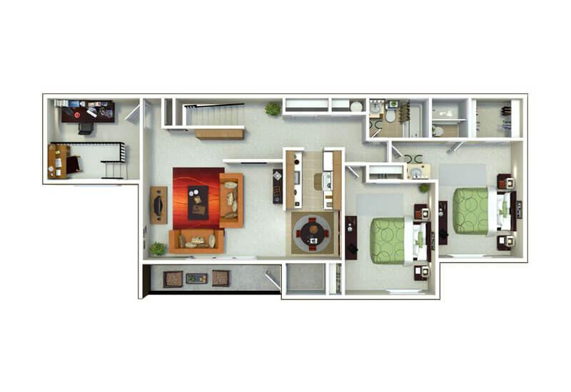 Oxford Heights 2 bedrooms style f floor plan