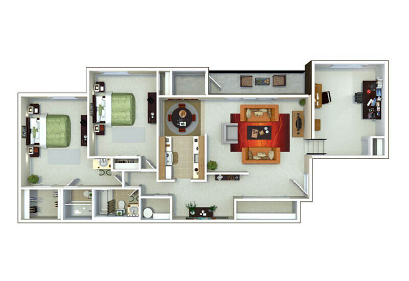 Oxford Heights 2 bedrooms style g floor plan