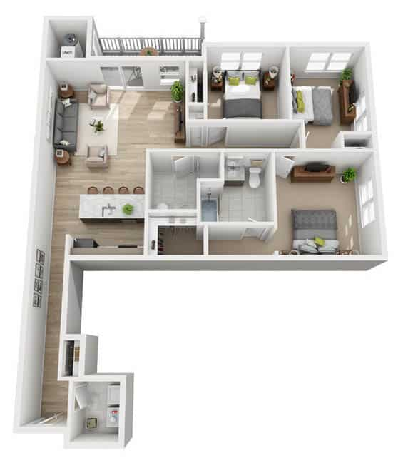 Oxford Heights 3 bedrooms style a floor plan