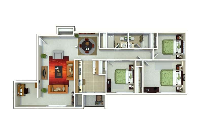 Oxford Heights 3 bedrooms style b floor plan