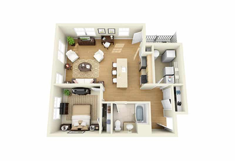 The Springs 1 Bedroom Floor Plan