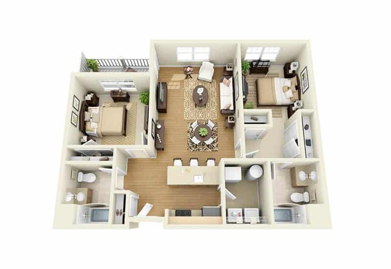 The Springs 2 bedrooms style a floor plan