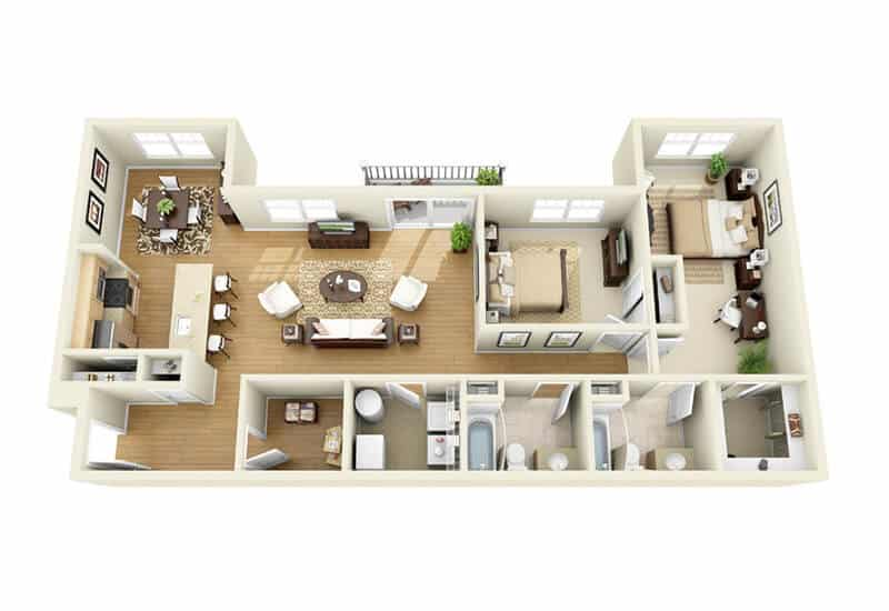 The Springs 2 bedrooms style b floor plan