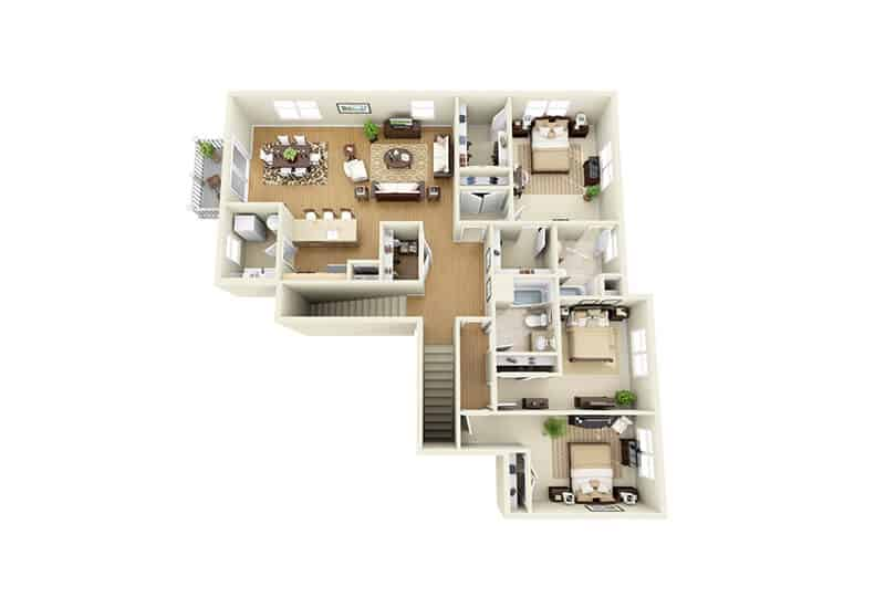 The Springs 3 bedrooms floor plan