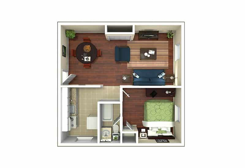 Edison Apartments 1 bedroom style a floor plan