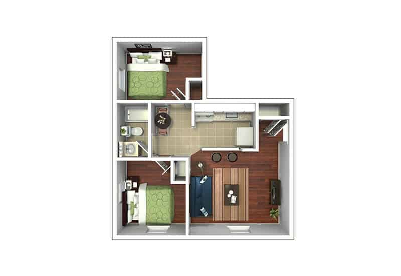 Edison Apartments 2 bedrooms style a floor plan