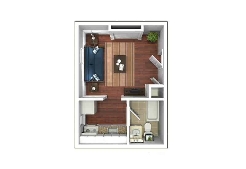 Edison Apartments studio style a floor plan