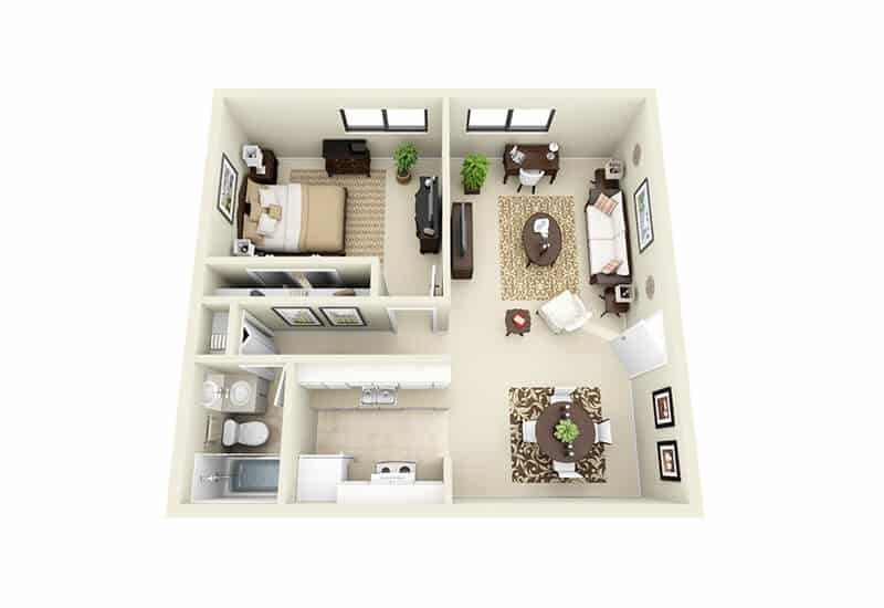 Gaslight Apartments 1 bedroom style a floor plan
