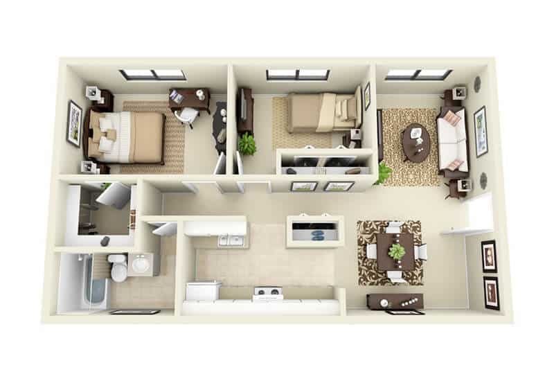 Gaslight Apartments 2 bedrooms style a floor plan